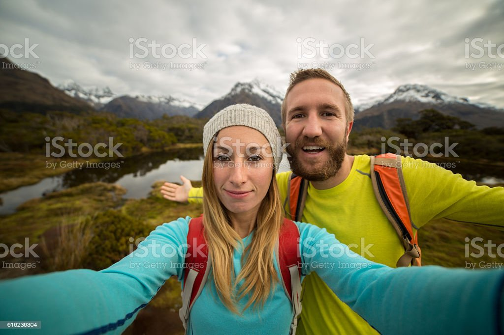 Two hikers take selfie portrait, Autumn stock photo