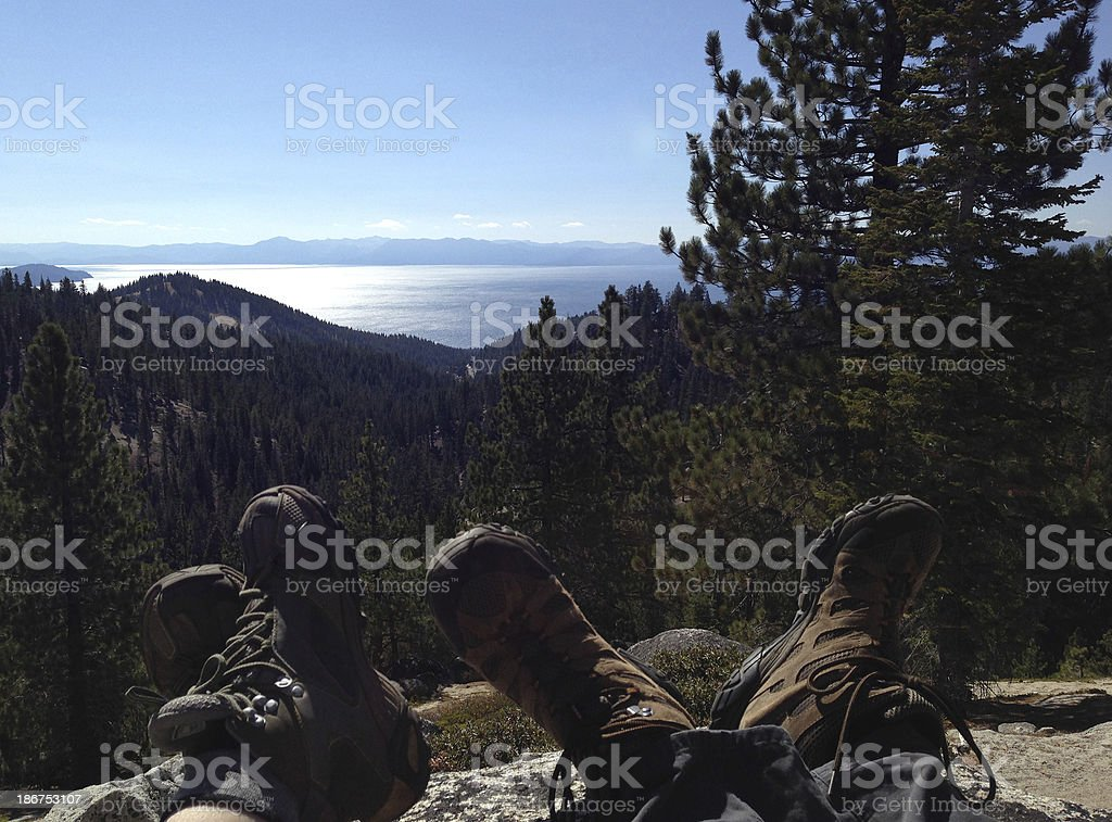 Two Hikers Taking a Break royalty-free stock photo