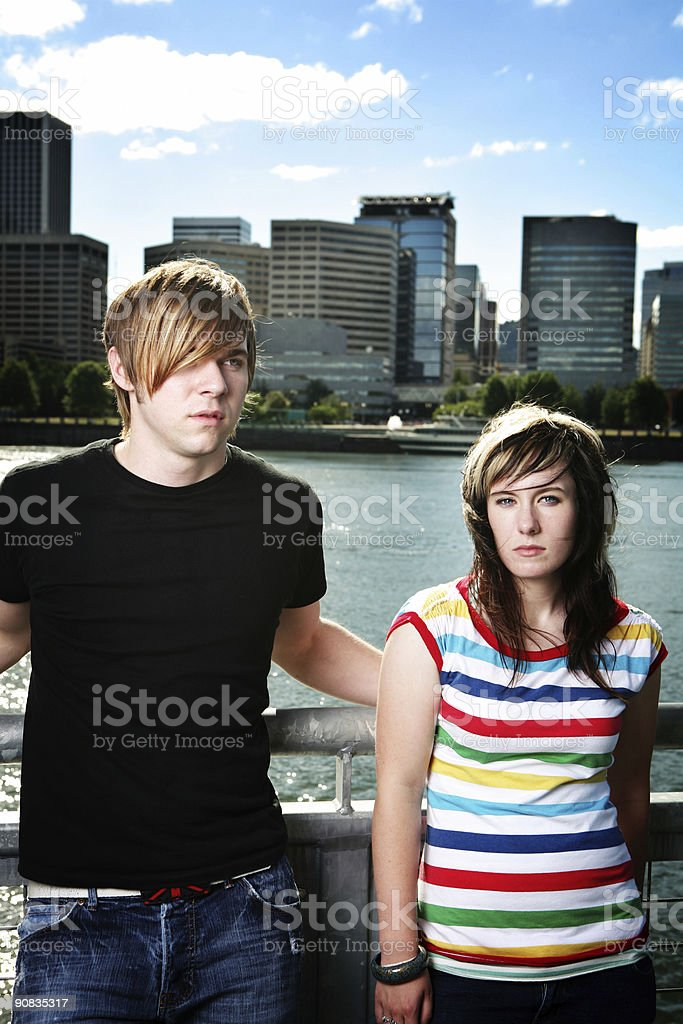 Two Hipster Friends in Downtown Portland royalty-free stock photo