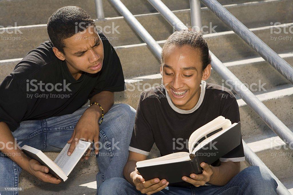 Two Hispanic friends studying stock photo