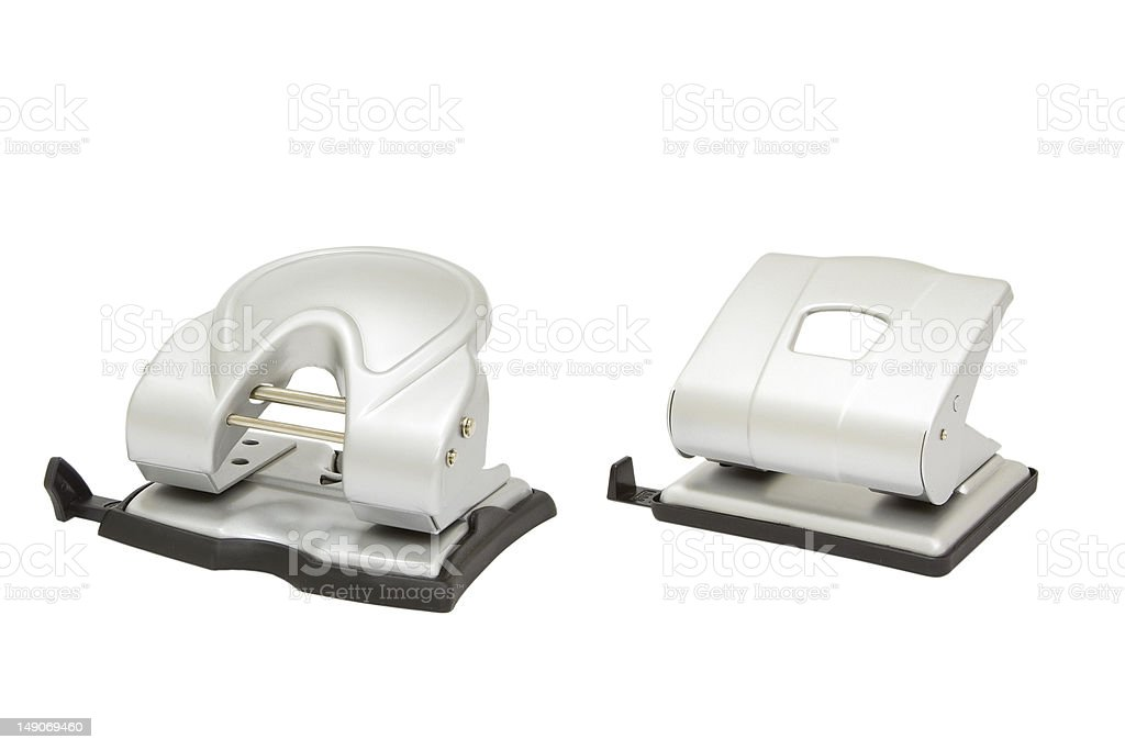 two hole punchers isolated royalty-free stock photo