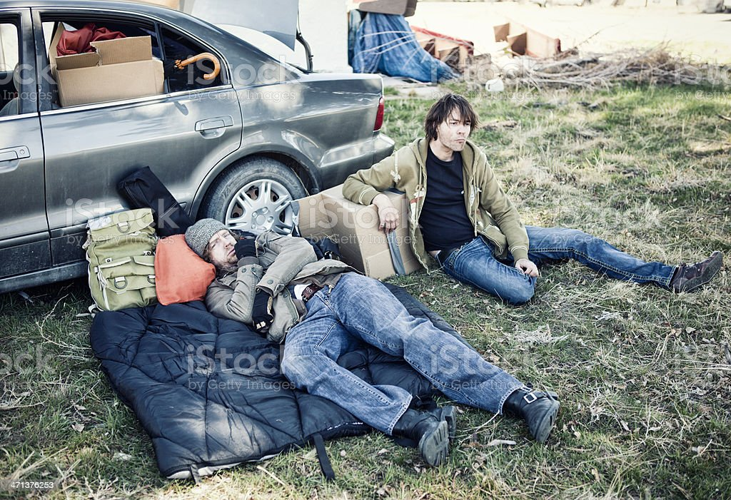 Two Homeless Men Living Out of a Car stock photo