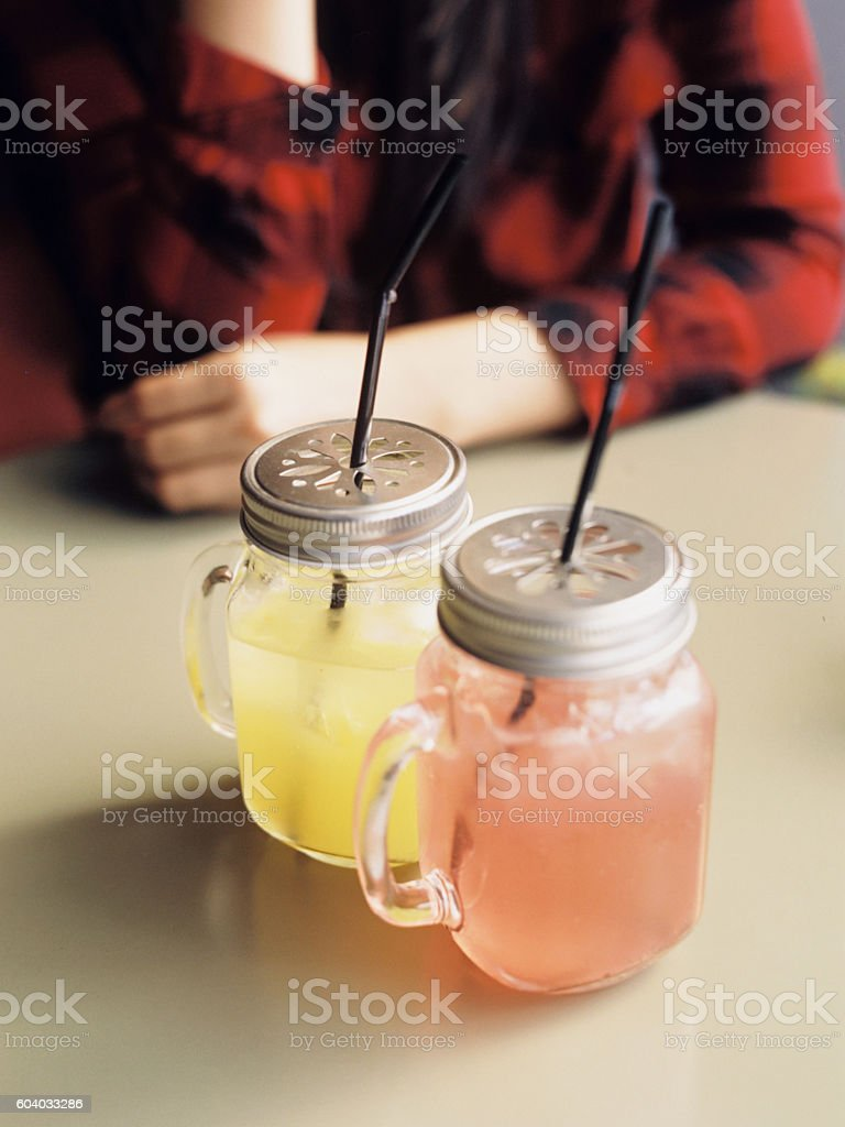 Two homemade lemonade with straw royalty-free stock photo