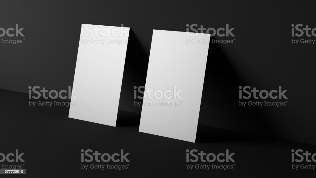 Two horizontal white blank business cards. High resolution 3d render. Personal branding mockup template. Soft shadow. vector art illustration
