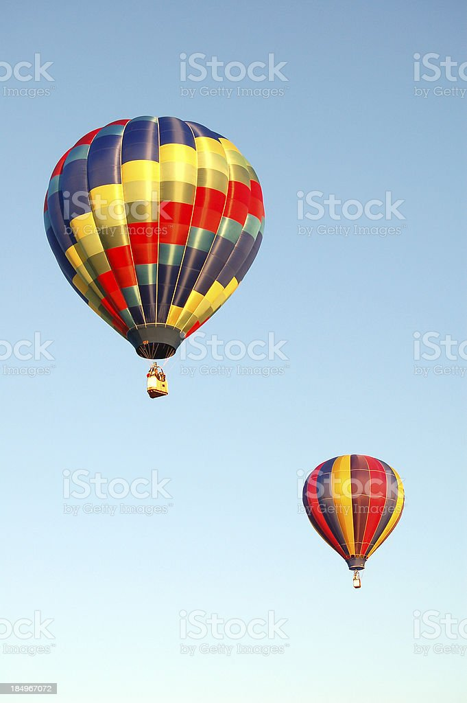 Two Hot Air Balloons in Sky royalty-free stock photo