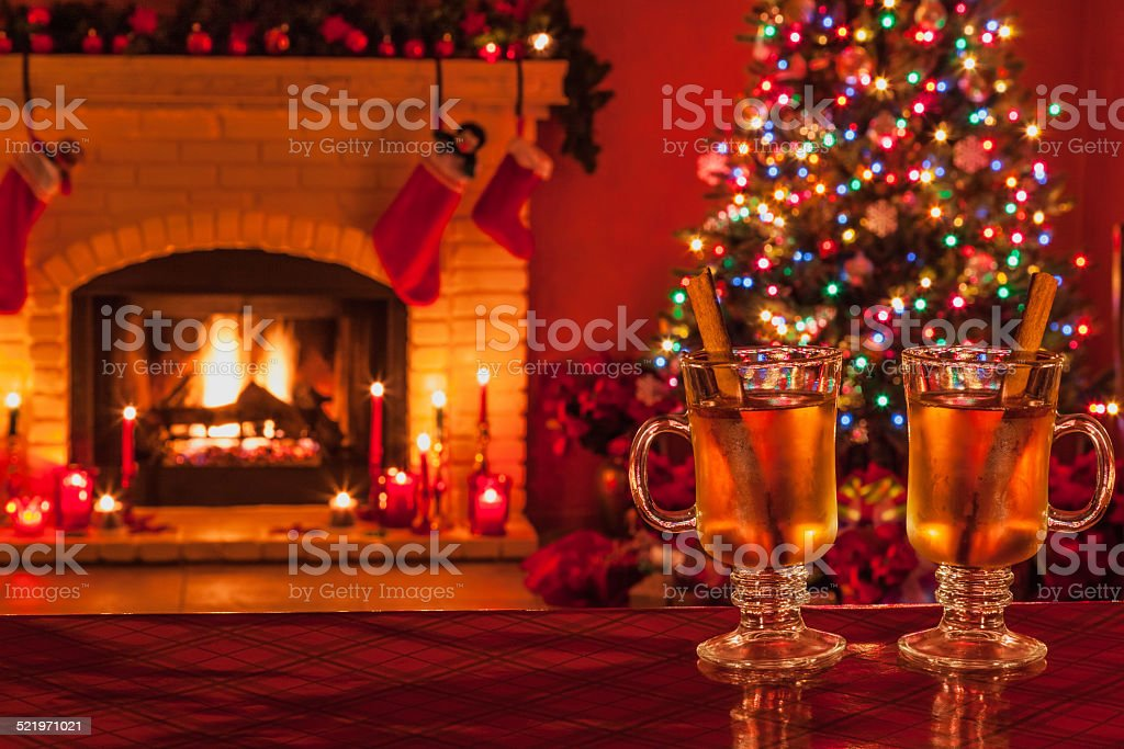Fireplace Design fireplace scene : Two Hot Apple Cider Mugs And Christmas Fireplace Scene stock photo ...