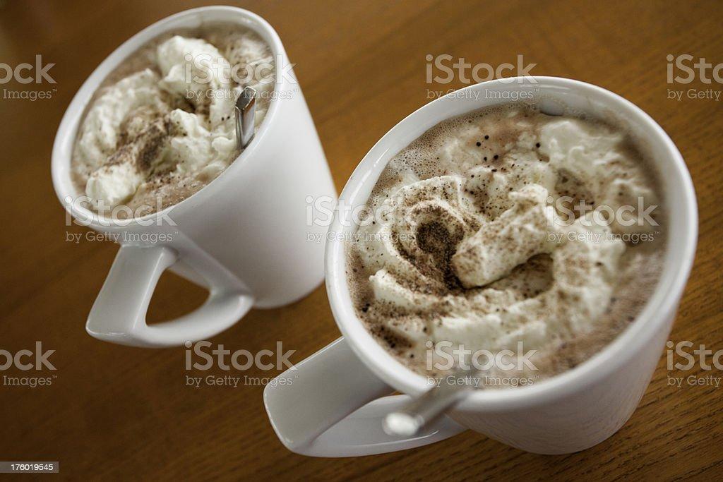 Two hot chocolates royalty-free stock photo
