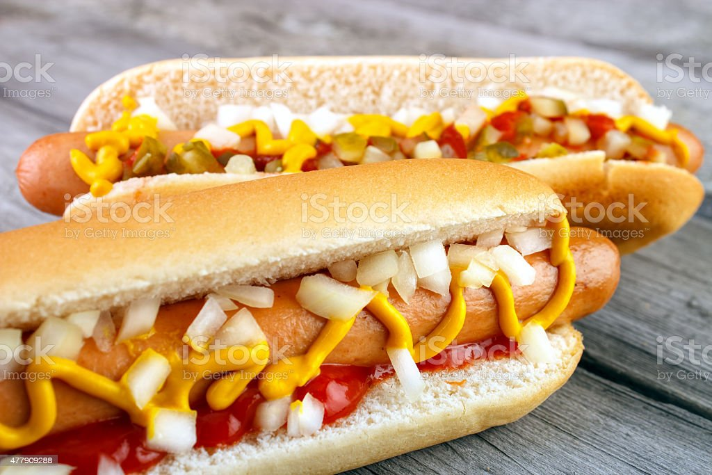 Two hot dogs closeup with ketchup royalty-free stock photo