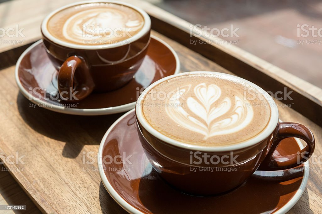 Two hot latte stock photo