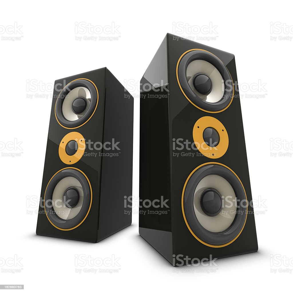 Two huge speakers stock photo