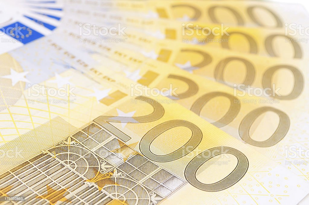 Two hundred Euro banknotes royalty-free stock photo