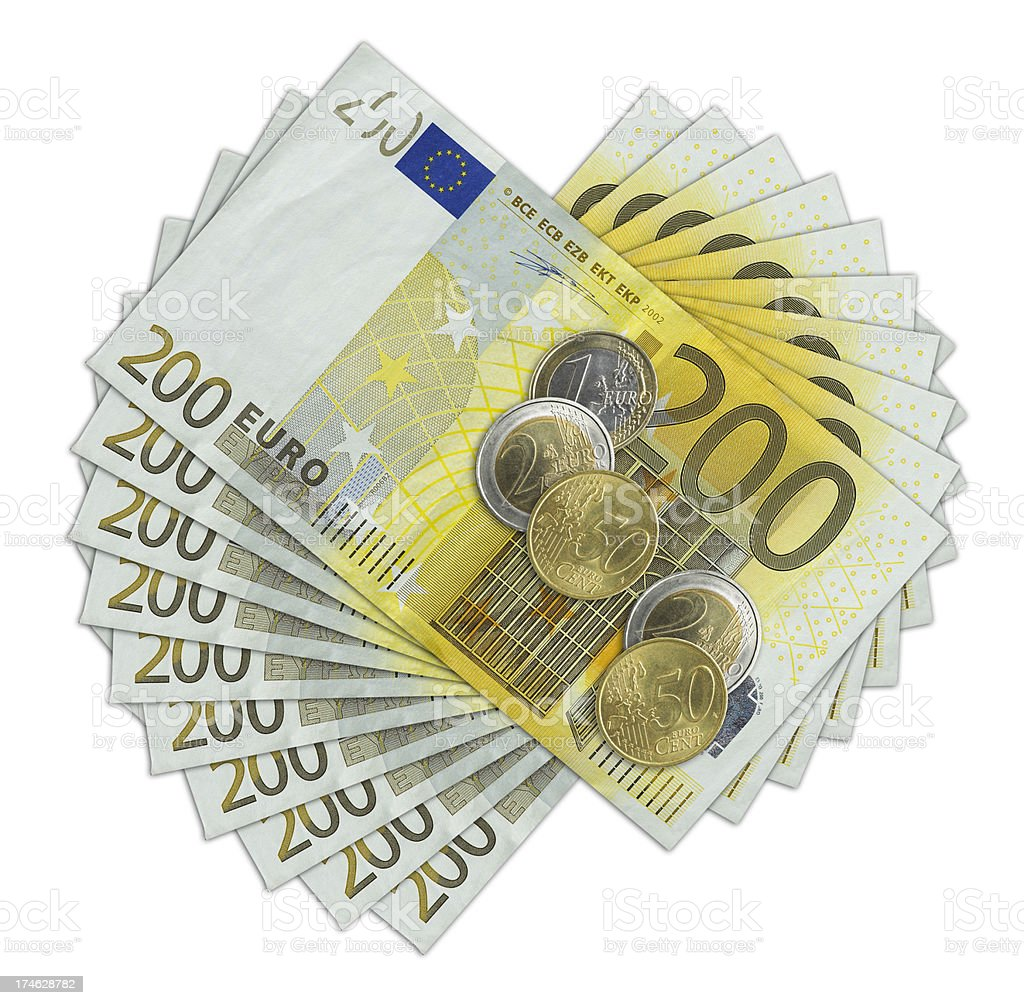 Two hundred Euro bill and coins stock photo