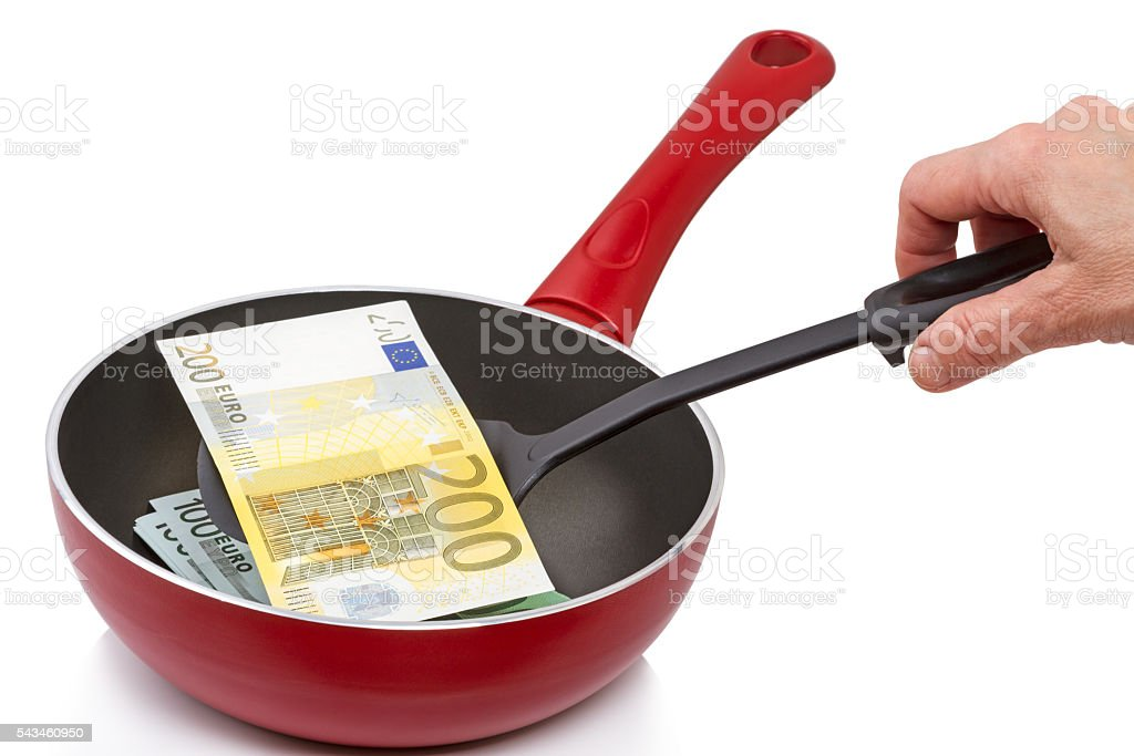 Two hundred euro on a frying pan stock photo