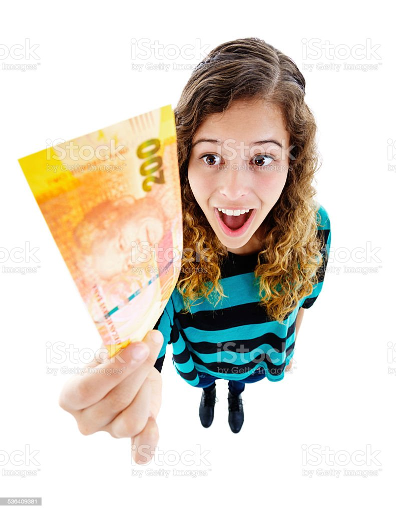 Two Hundred Rand, wow! Delighted young woman with banknote stock photo