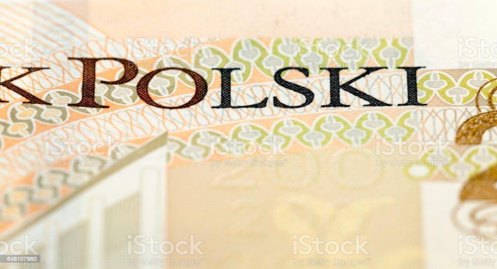 Two hundred zloty closeup stock photo