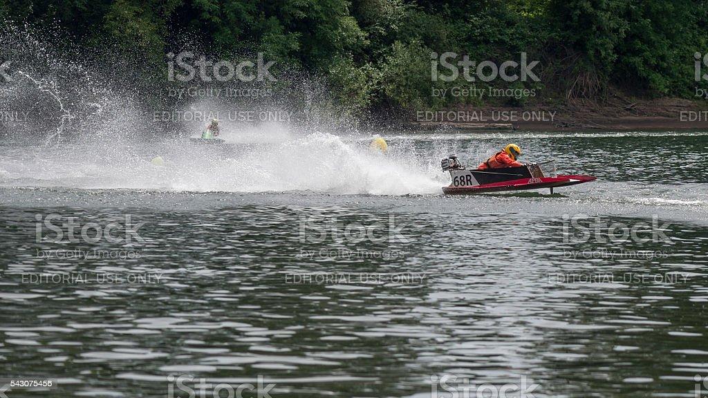 Two Hydroplanes Memorial Weekend Boat Races Willamette River Newberg Oregon stock photo