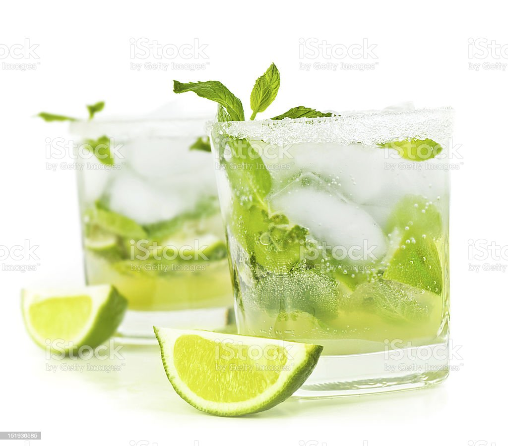 Two ice cold freshly prepared mojitos royalty-free stock photo