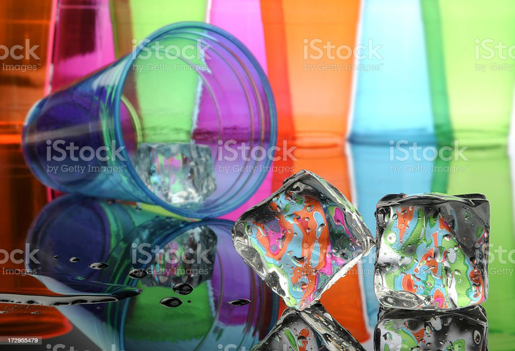 Two Ice Cubes With Plastic Cups, Amazing Colors royalty-free stock photo