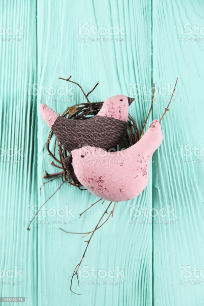 two in love birds in the nest stock photo