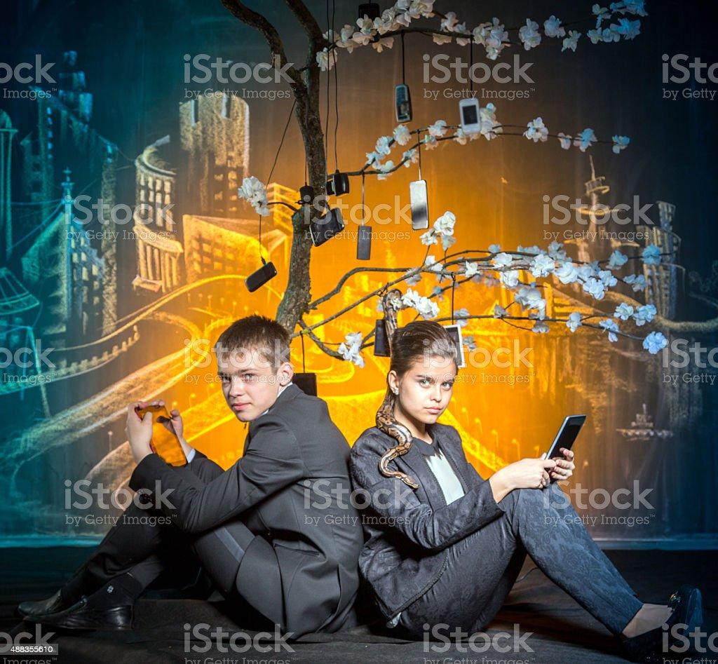 Two in Modern Eden stock photo