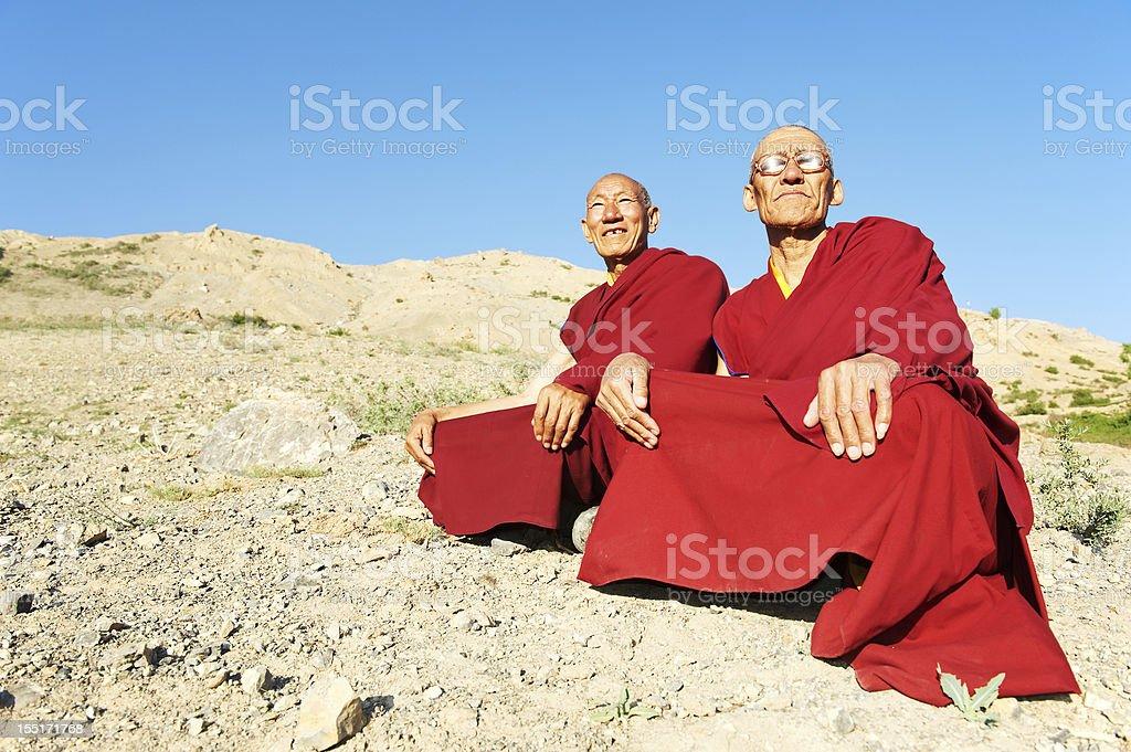 Two Indian tibetan monk lama royalty-free stock photo