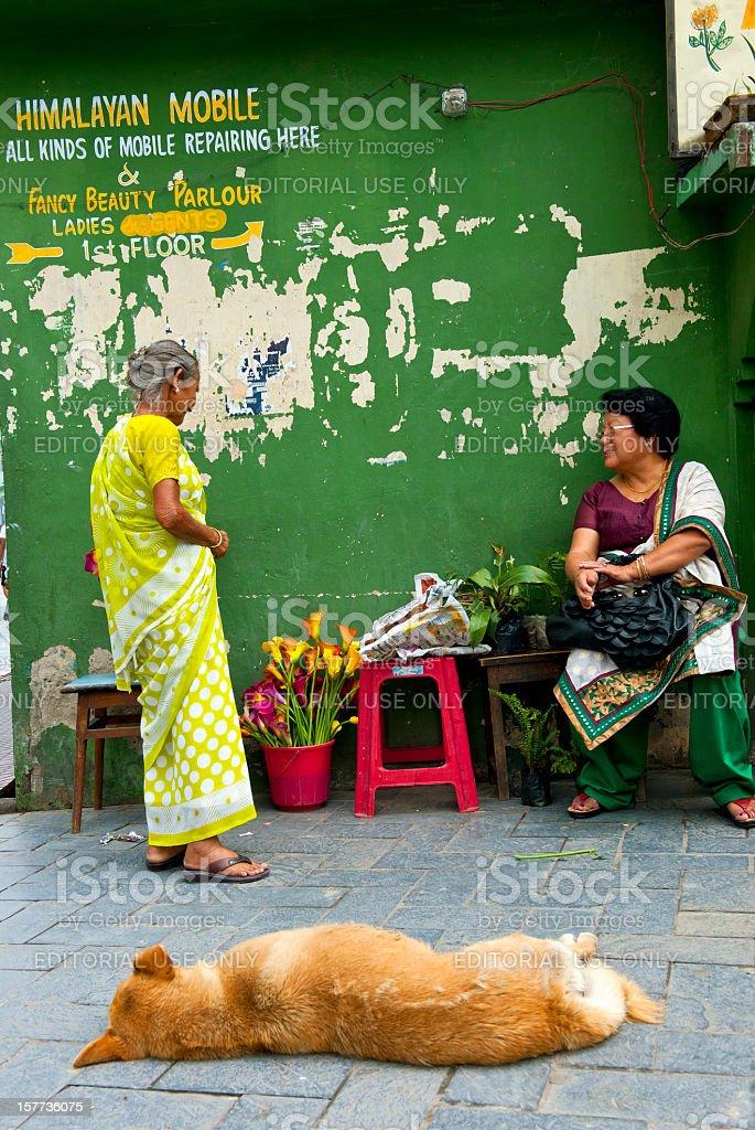 Two Indian Women in Gangtok Market Sikkim stock photo