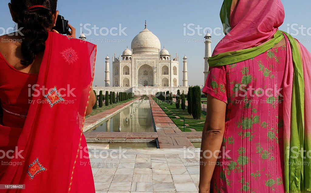 Two Indian Women in Taj Mahal royalty-free stock photo