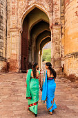 Two Indian women on the way to Mehrangarh Fort, India