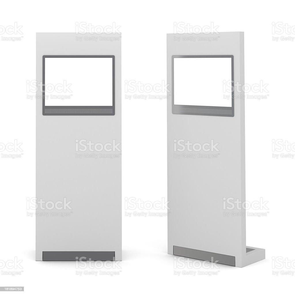 Two information kiosk isolated on white background stock photo