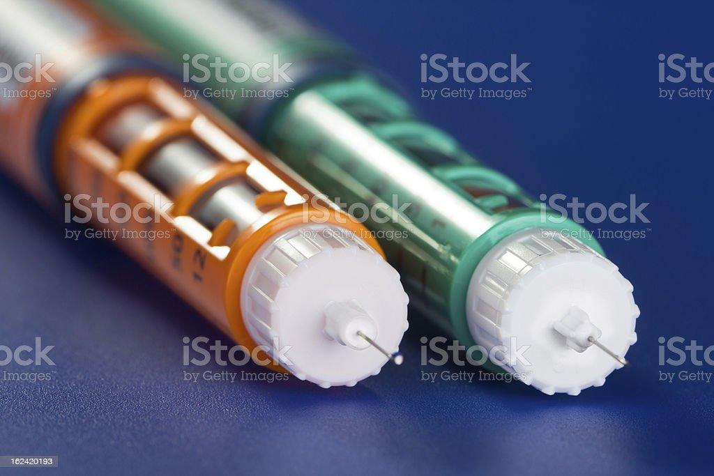 Two insulin syringe pen stock photo