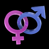Two intertwined gender symbols
