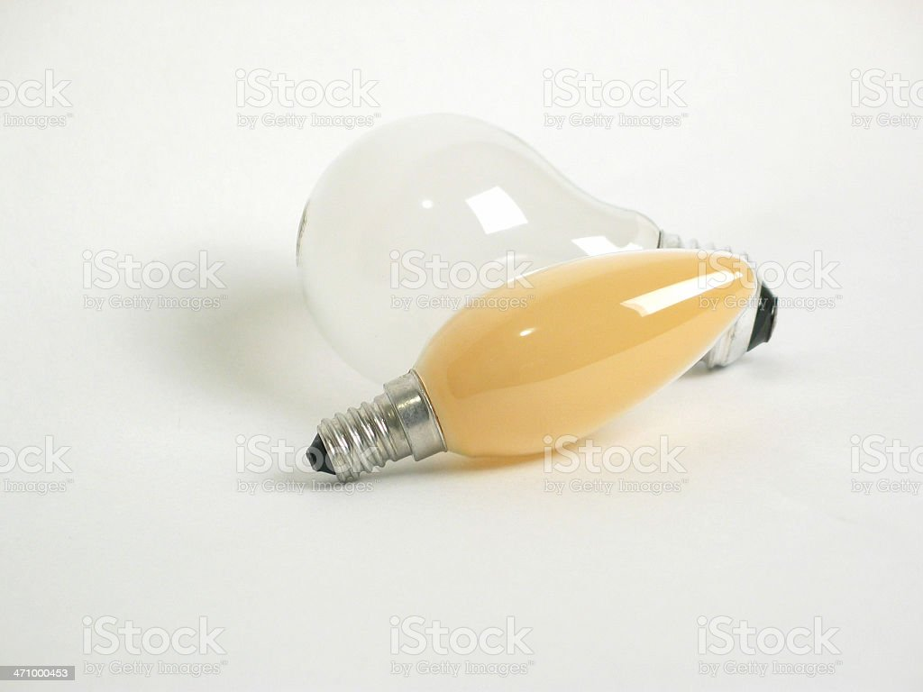 Two isolated light bulbs royalty-free stock photo