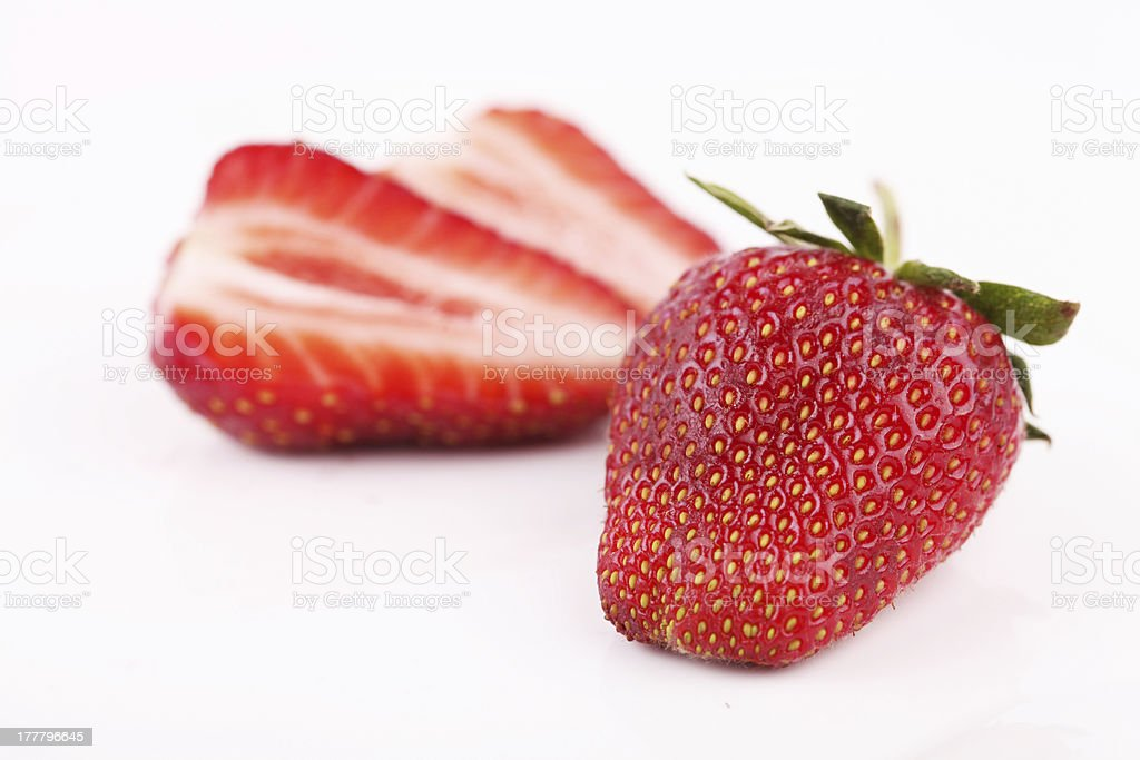 Two Isolated Strawberries royalty-free stock photo