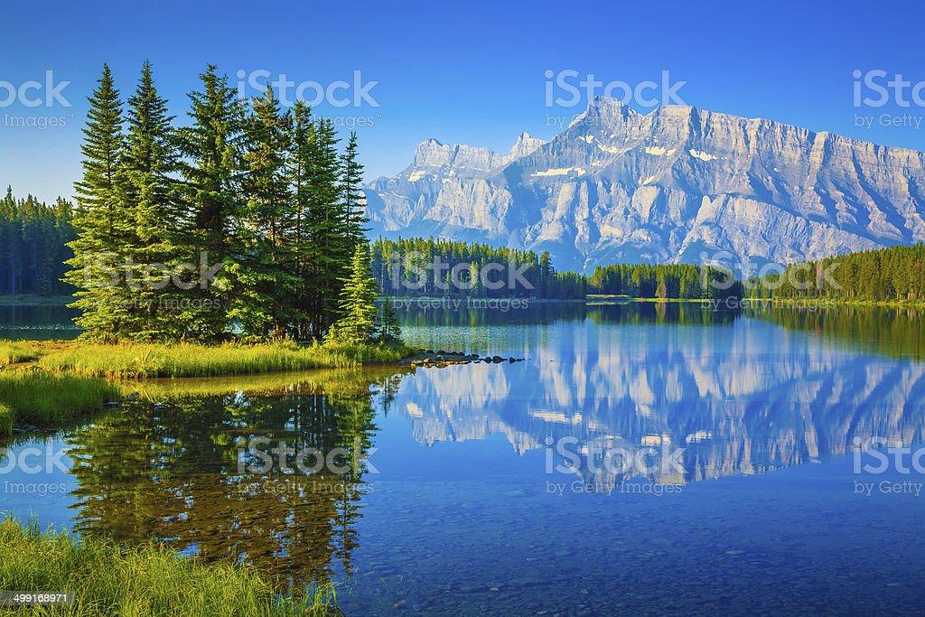 Two Jack Lake, Mount Rundle, Banff National Park Canada stock photo