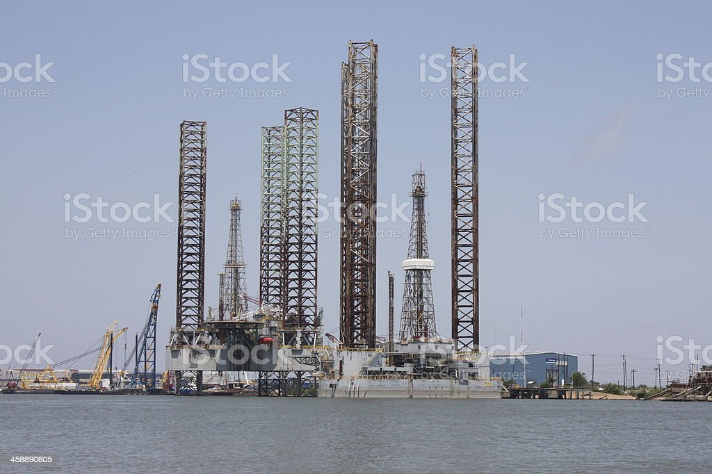 Two Jack Up Oil Rigs in Galveston, Texas stock photo