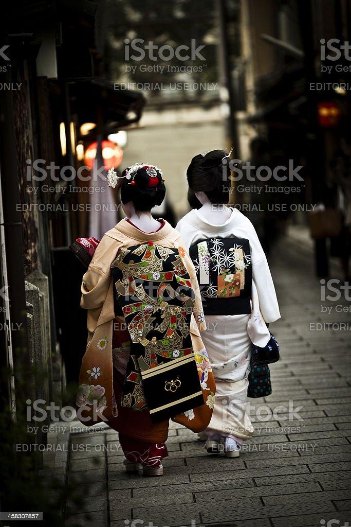 two japanese geisha´s royalty-free stock photo