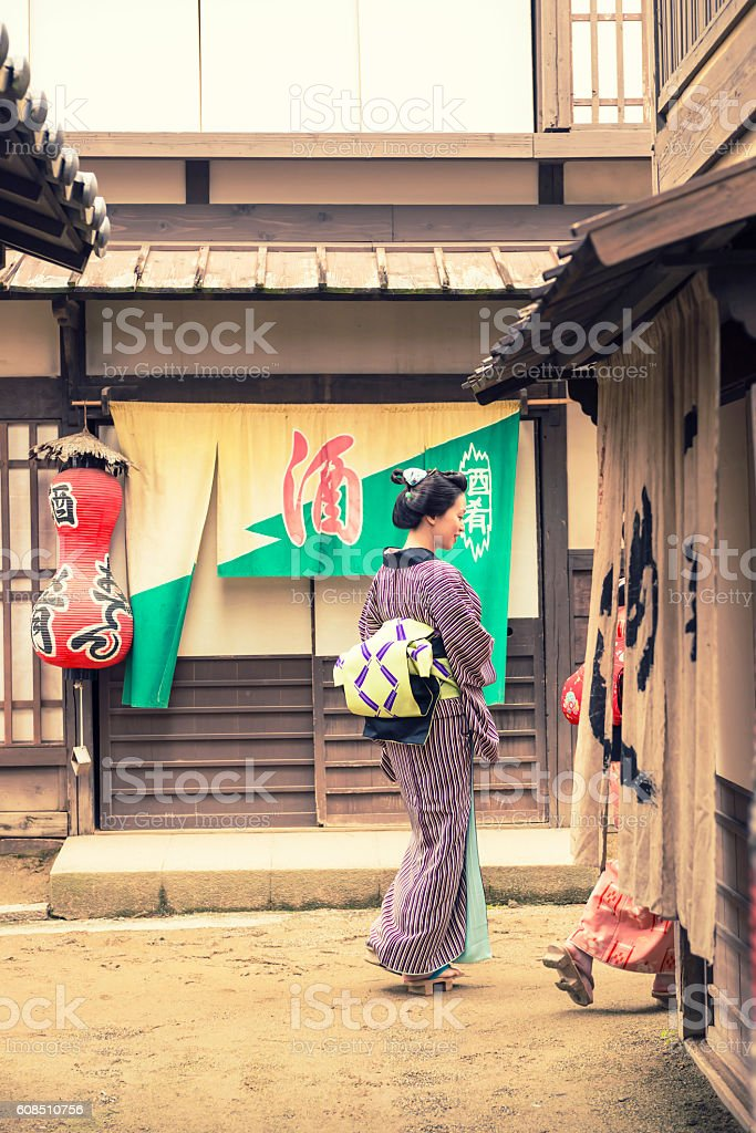 Two Japanese woman in old town stock photo