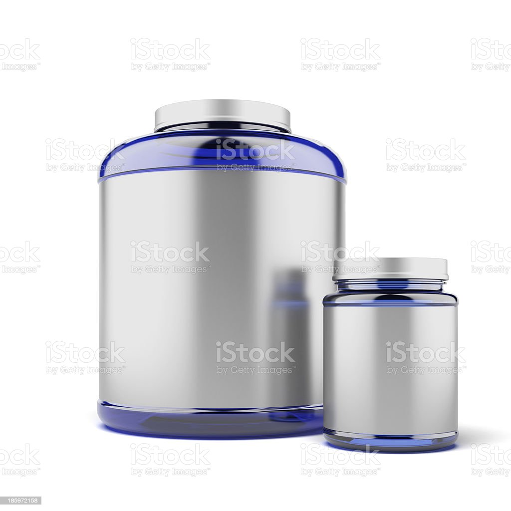Two Jars for sport supplements royalty-free stock photo