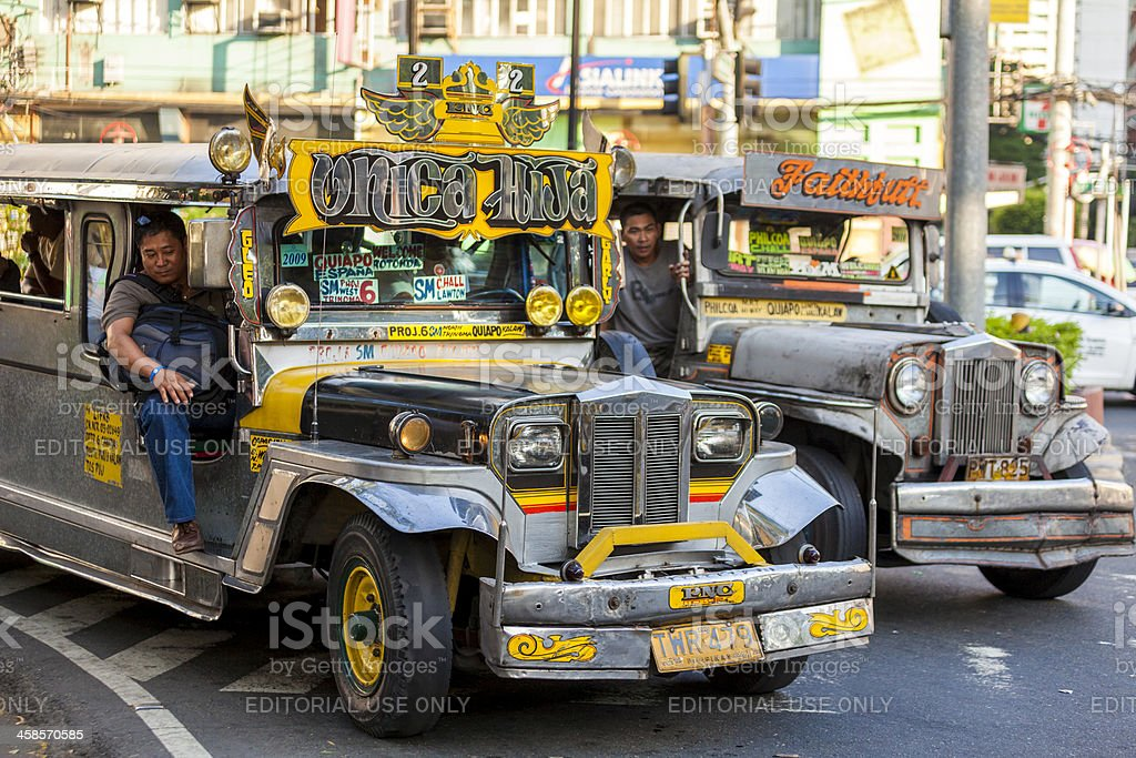 Two Jeepneys in Metro Manila. royalty-free stock photo