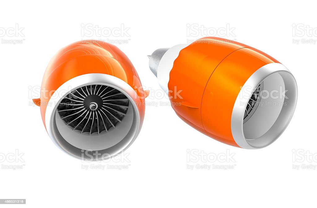 Two Jet turbofan engines with orange cowl on white background stock photo