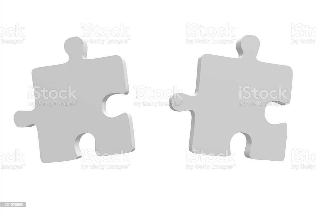 3D two jigsaw puzzles stock photo