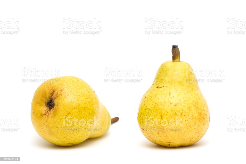 Two juicy, yellow pears isolated on white background stock photo