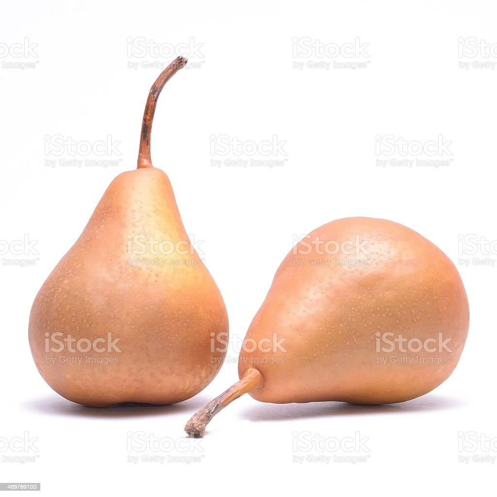 Two kaiser pears isolated on white background stock photo