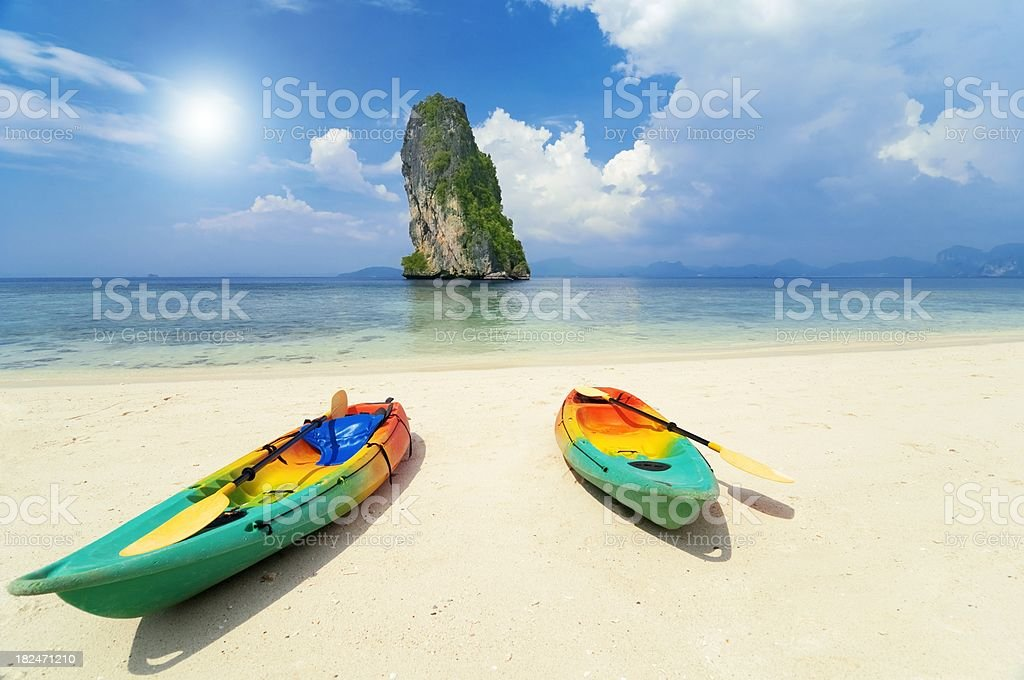 Two kayak boat on the tropical beach royalty-free stock photo