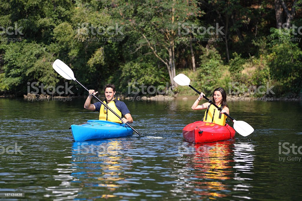 Two Kayakers On The Water stock photo