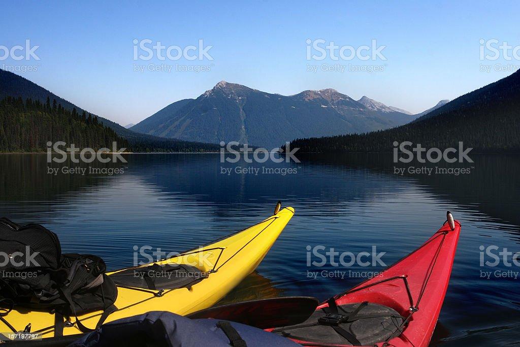 Two Kayaks and Mountain royalty-free stock photo