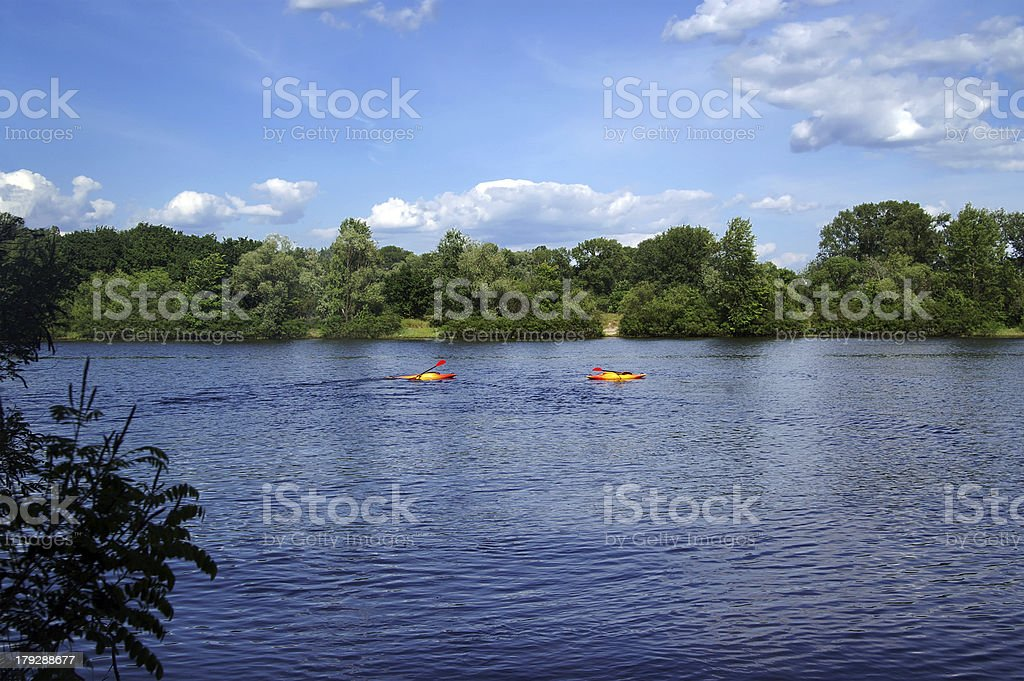 Two kayaks royalty-free stock photo
