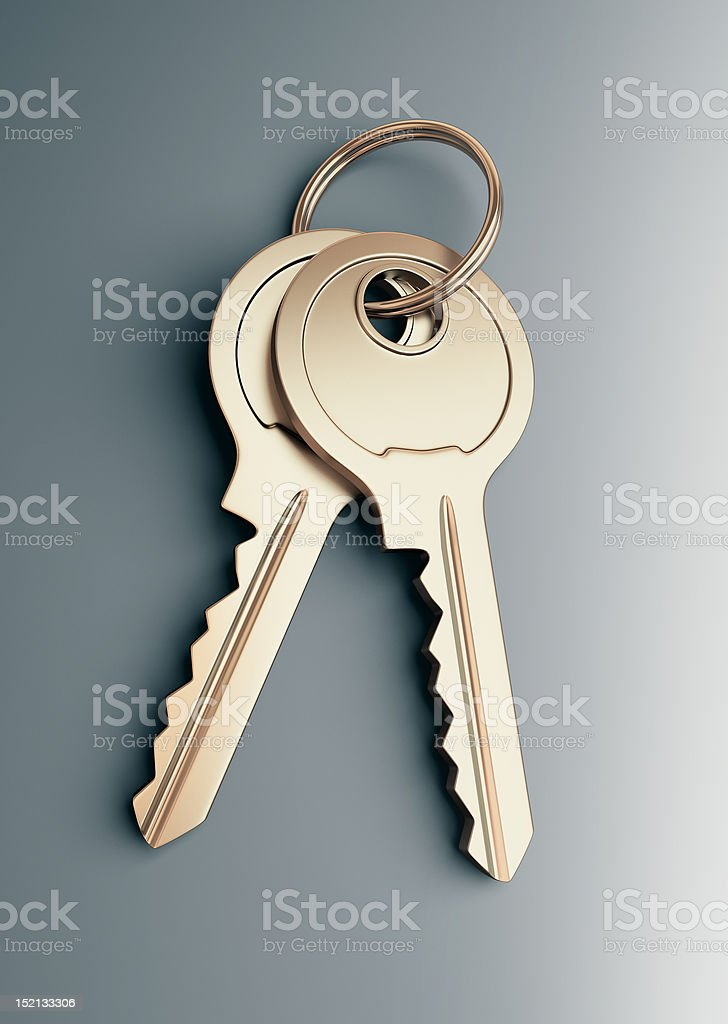 Two keys on surface stock photo