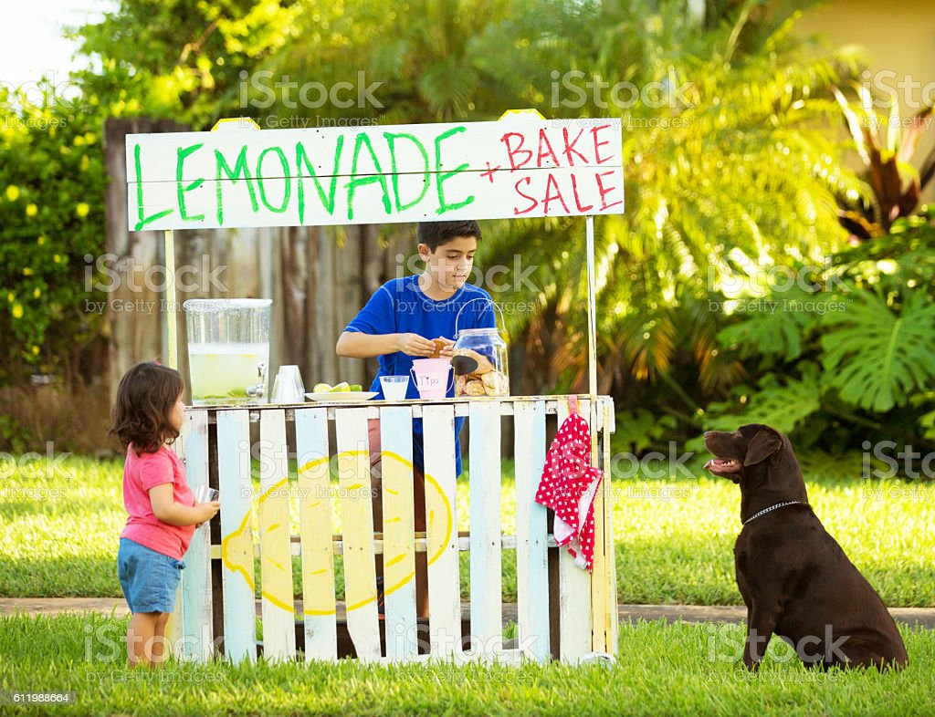 Two kids and a dog selling lemonade stock photo