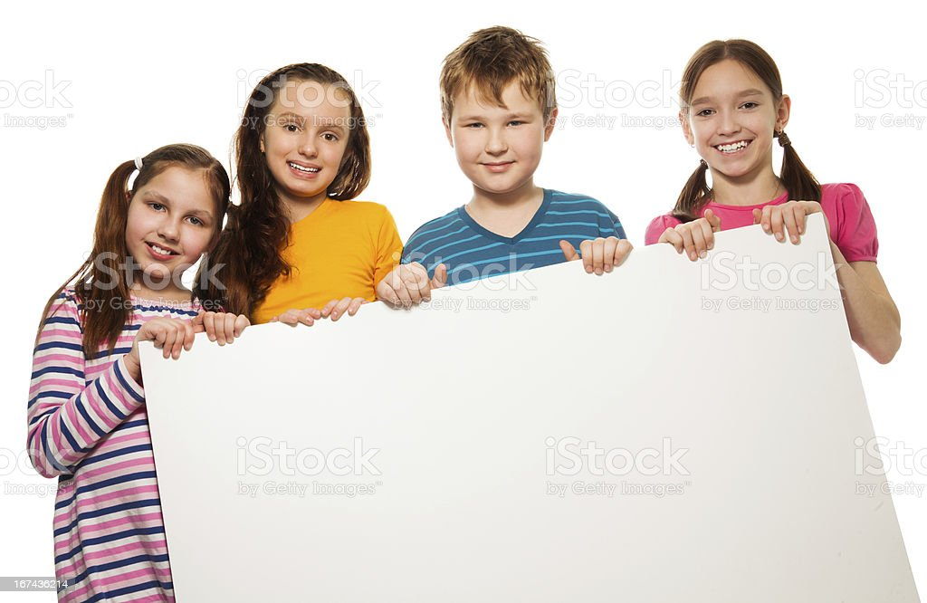Two kids showing advertising royalty-free stock photo